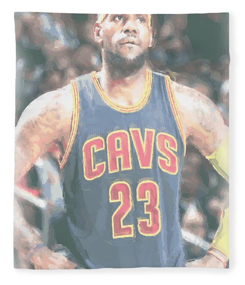 Lebron James Fleece Blanket featuring the photograph Cleveland Cavaliers Lebron James 5 by Joe Hamilton