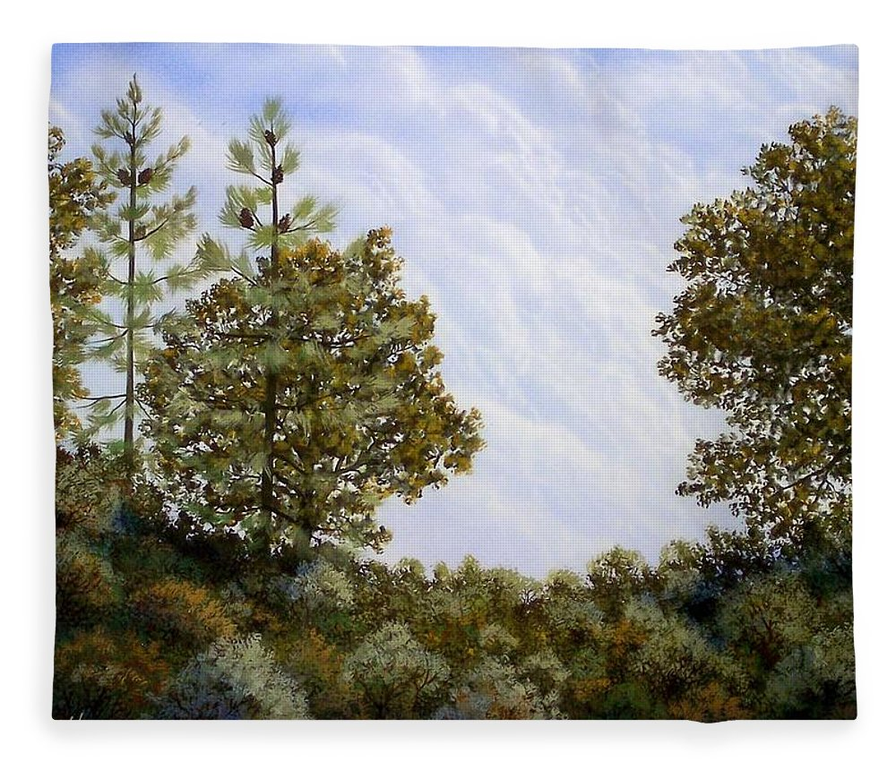 Landscape Fleece Blanket featuring the painting Clouds In Foothills by Frank Wilson