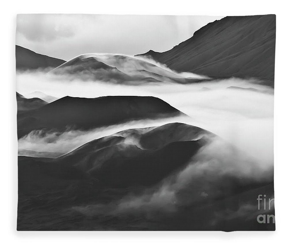 Mountains Fleece Blanket featuring the photograph Maui Hawaii Haleakala National Park Clouds in Haleakala Crater by Jim Cazel