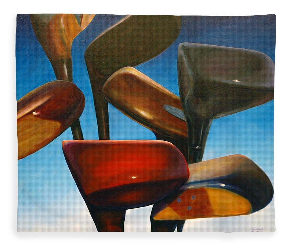 Golf Clubs Brown Fleece Blanket featuring the painting Clubs Rising by Shannon Grissom