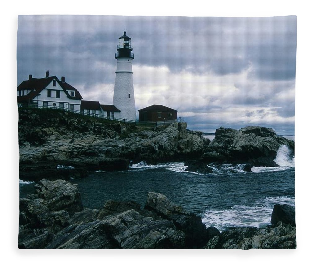 Landscape New England Lighthouse Nautical Storm Coast Fleece Blanket featuring the photograph Cnrg0601 by Henry Butz