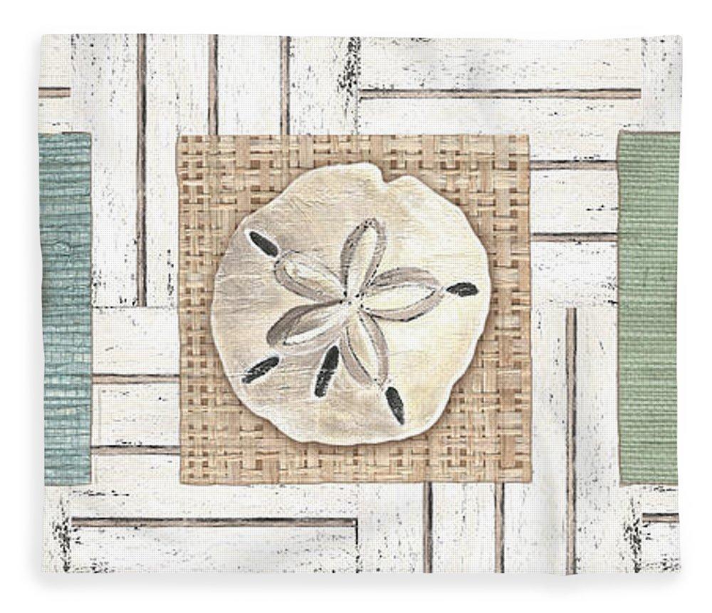 Coastal Fleece Blanket featuring the painting Coastal Shells 1 by Debbie DeWitt