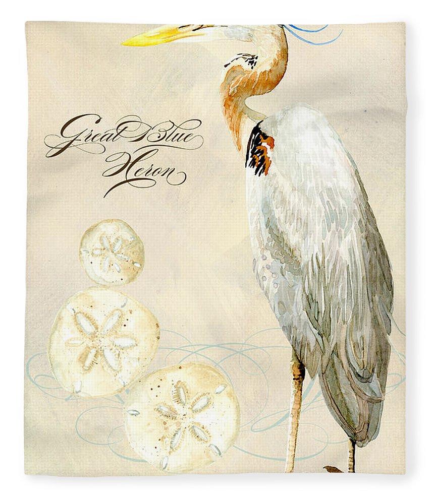 Watercolor Fleece Blanket featuring the painting Coastal Waterways - Great Blue Heron by Audrey Jeanne Roberts