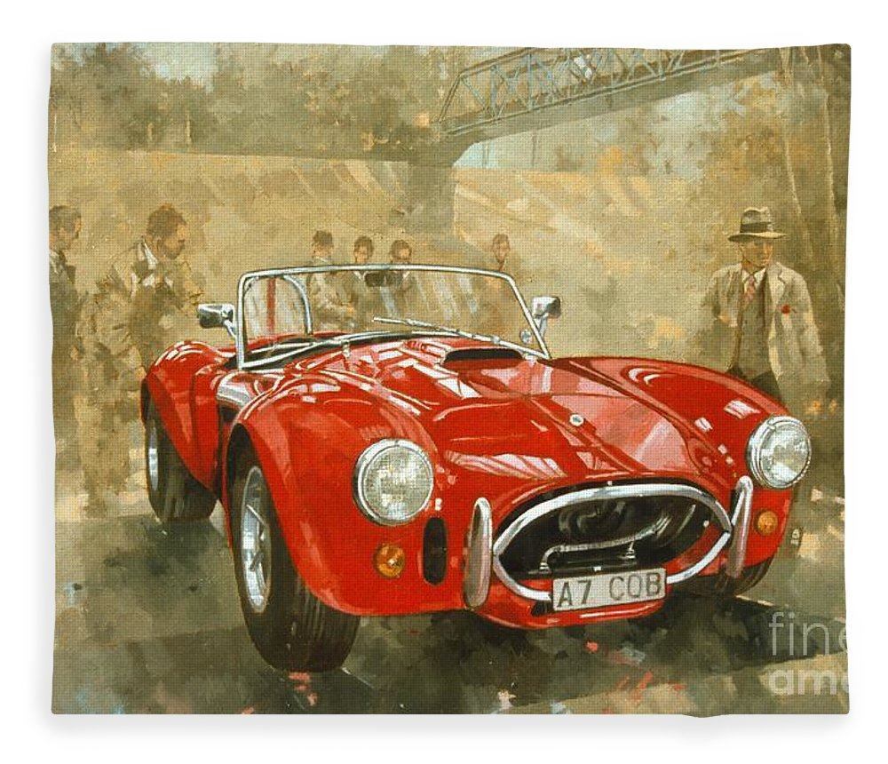 Sports Car; Race Car; Vehicle; Racing; Driver; Track; Racetrack; Race Track; Vintage; Racer; Red; Cobra; Brooklands; Old Timer Fleece Blanket featuring the painting Cobra At Brooklands by Peter Miller
