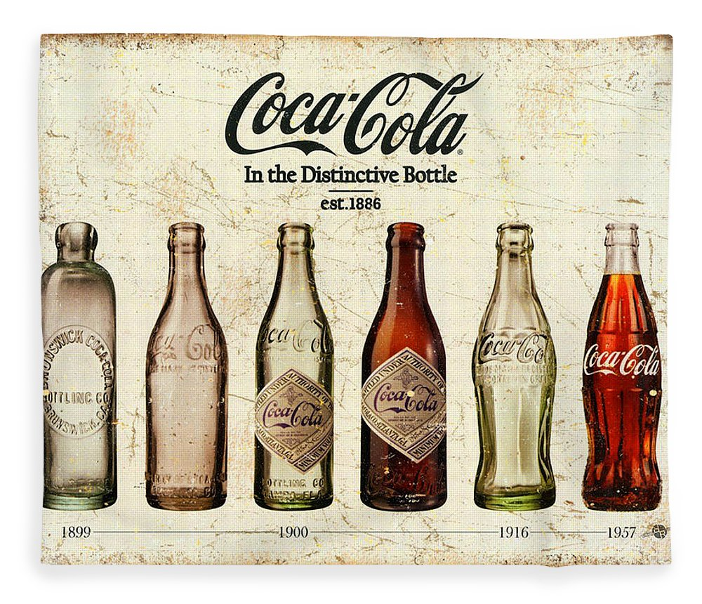 Coca-cola Fleece Blanket featuring the painting Coca-cola Bottle Evolution Vintage Sign by Tony Rubino