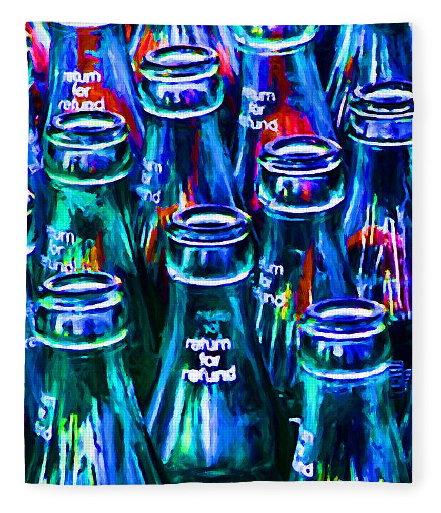 Coke Bottle Fleece Blanket featuring the photograph Coca-cola Coke Bottles - Return For Refund - Painterly - Blue by Wingsdomain Art and Photography