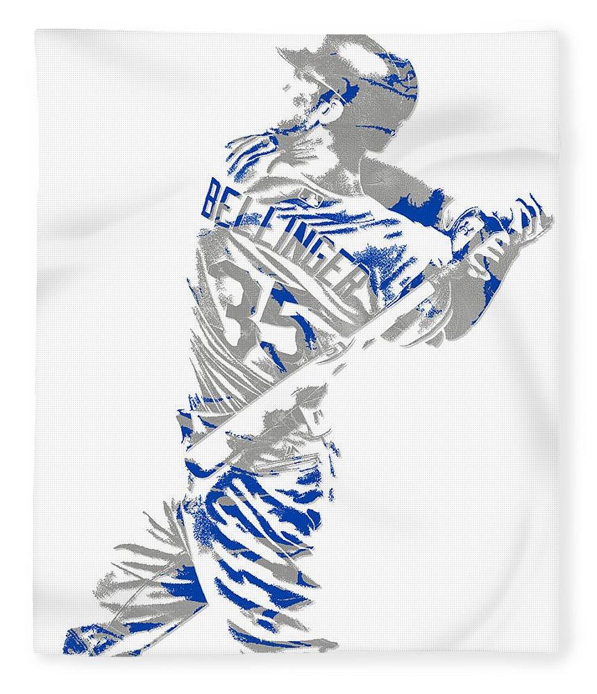 Cody Bellinger Fleece Blanket featuring the mixed media Cody Bellinger Los Angeles Dodgers Pixel Art 2 by Joe Hamilton