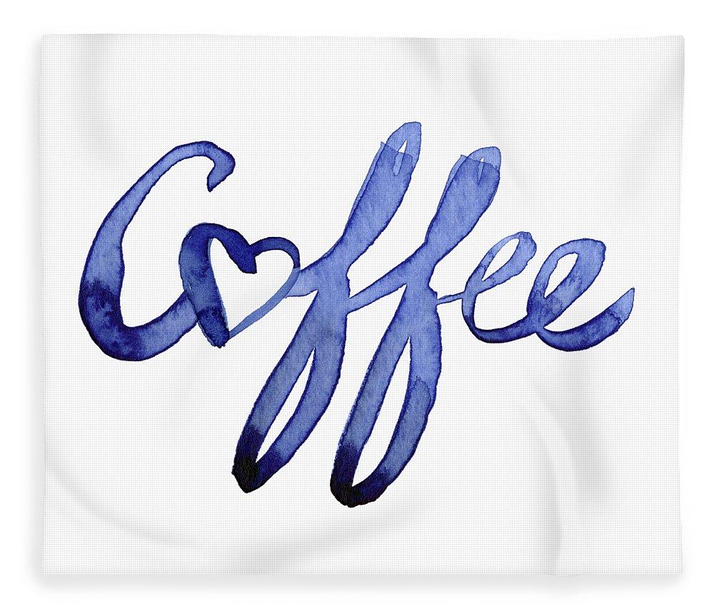 Coffee Fleece Blanket featuring the painting Coffee Love Typography by Olga Shvartsur
