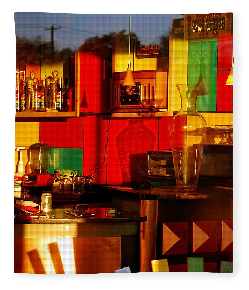 Skip Hunt Fleece Blanket featuring the photograph Coffee Shop by Skip Hunt