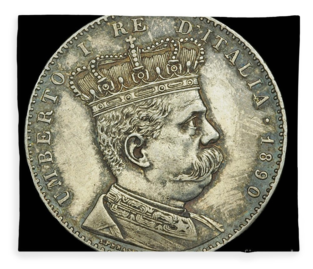 Currency Fleece Blanket featuring the photograph Coin Italian King by Jost Houk
