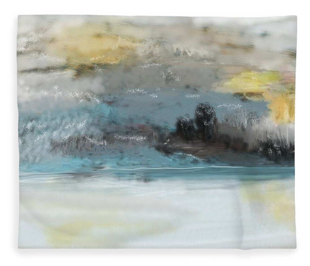 Landscape Fleece Blanket featuring the digital art Cold Day Lakeside Abstract Landscape by David Lane