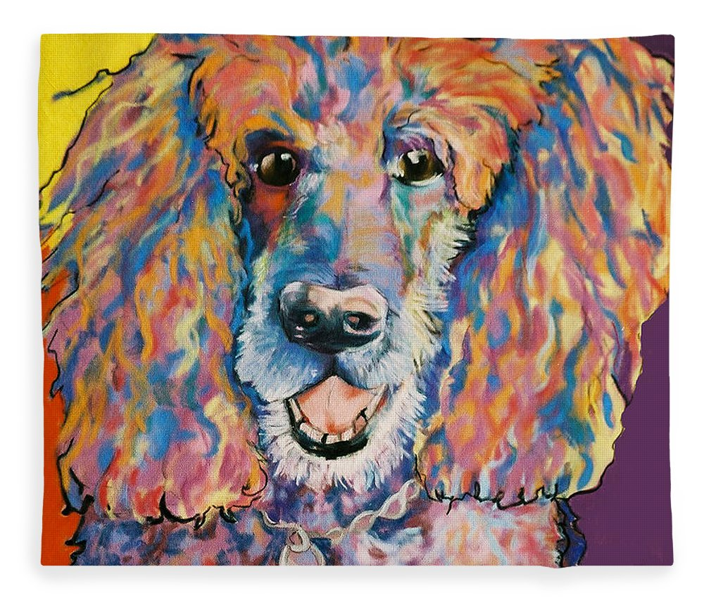 Standard Poodle Fleece Blanket featuring the painting Cole by Pat Saunders-White