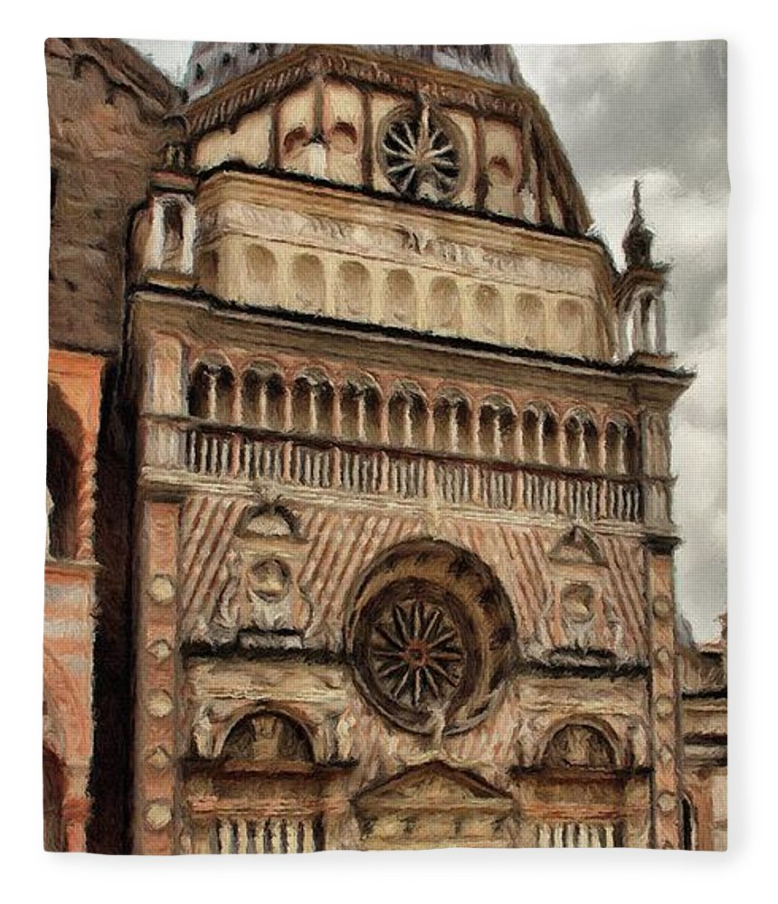 Chapel Fleece Blanket featuring the painting Colleoni Chapel by Jeffrey Kolker