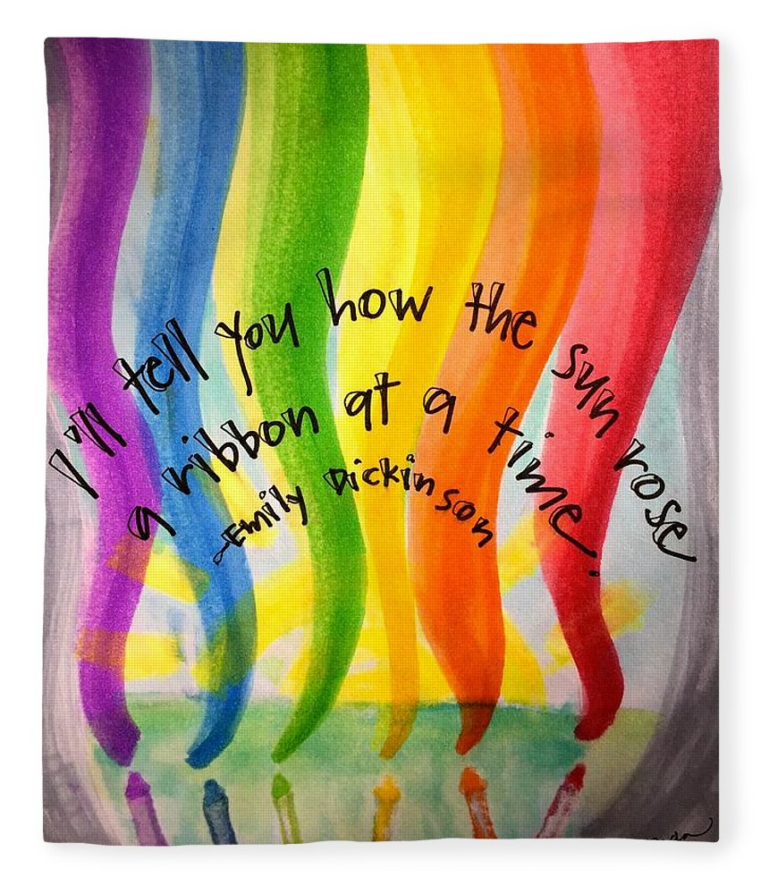 Rainbow Fleece Blanket featuring the painting Color the Sky by Vonda Drees