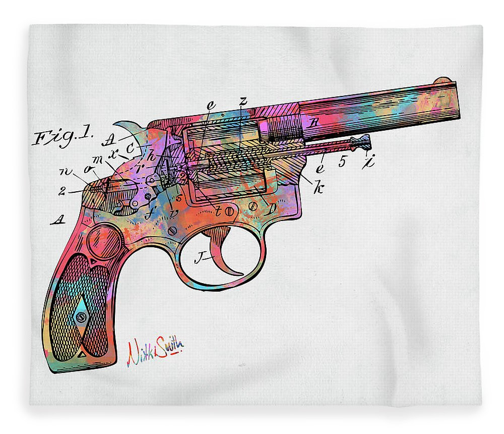 Wesson Fleece Blanket featuring the digital art Colorful 1896 Wesson Revolver Patent by Nikki Marie Smith