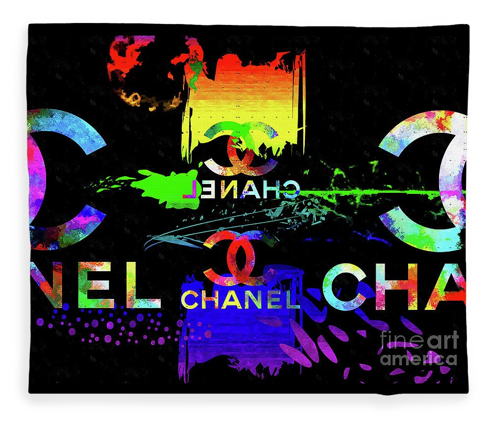 Colorful Chanel Art Fleece Blanket featuring the mixed media Colorful Chanel Art by Daniel Janda
