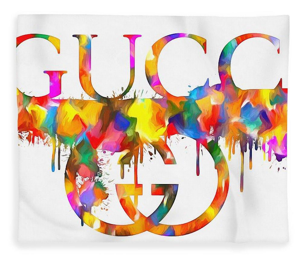 Colorful Gucci Paint Splatter Fleece Blanket featuring the painting Colorful Gucci Paint Splatter by Dan Sproul