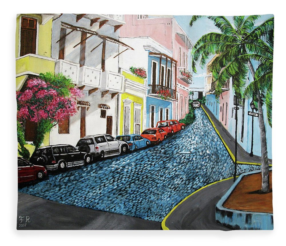 Old San Juan Fleece Blanket featuring the painting Colorful Old San Juan by Luis F Rodriguez