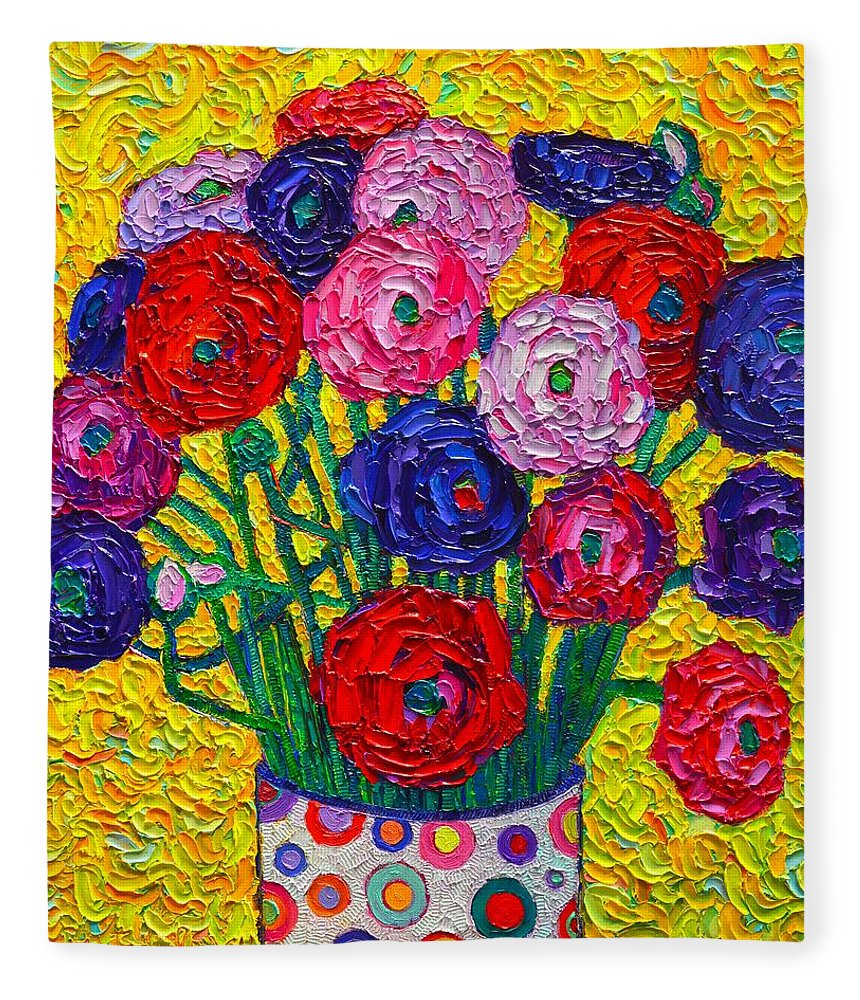 Colorful Ranunculus Flowers In Polka Dots Vase Palette Knife Oil ...