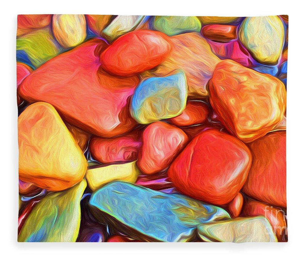 Abstract Fleece Blanket featuring the painting Colorful Stones by Veikko Suikkanen