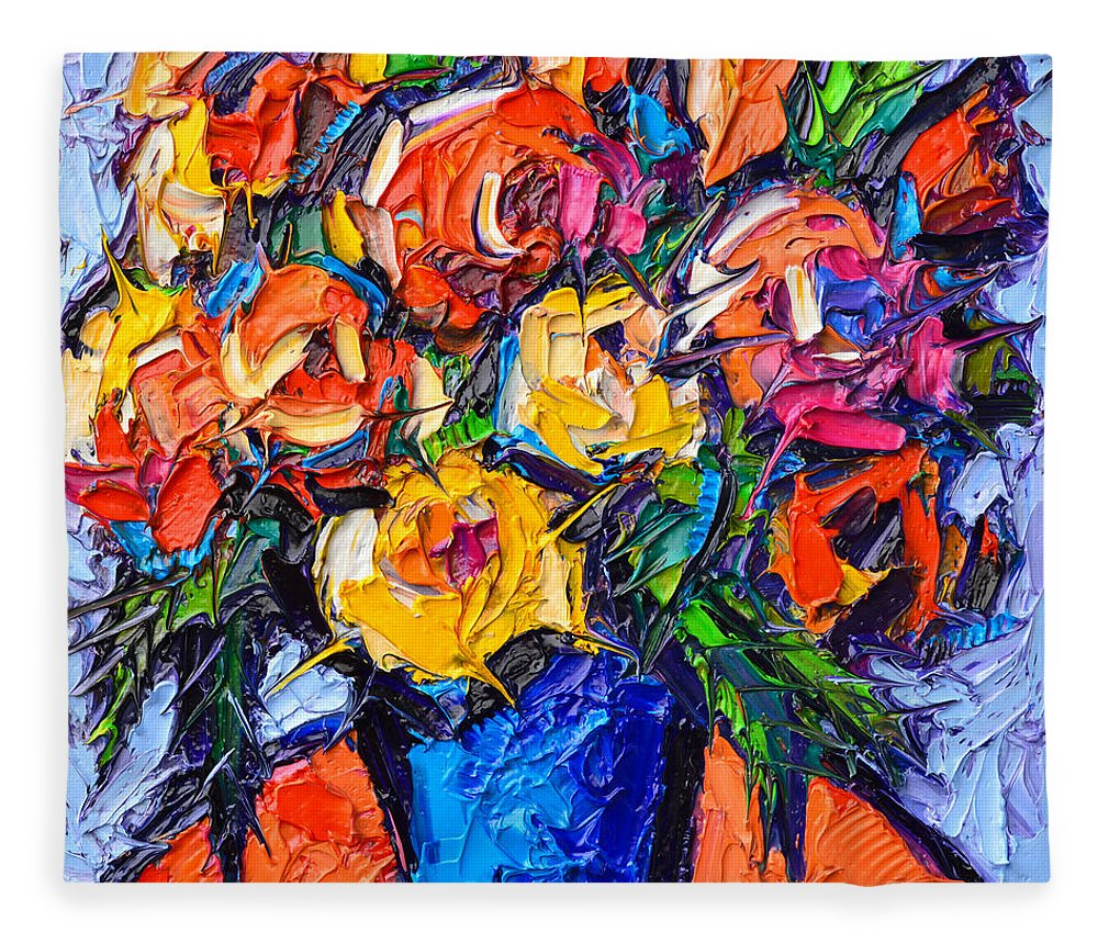 Colorful Wild Roses Abstract Flowers Modern Impressionist Impasto Oil Painting By Ana Maria Edulescu Fleece Blanket For Sale By Ana Maria Edulescu