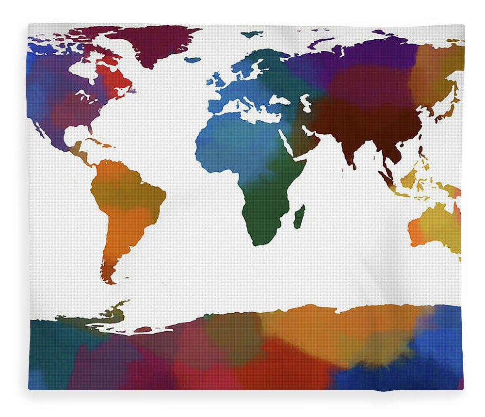 Colorful World Map Fleece Blanket For Sale By Dan Sproul - Colorful world map painting