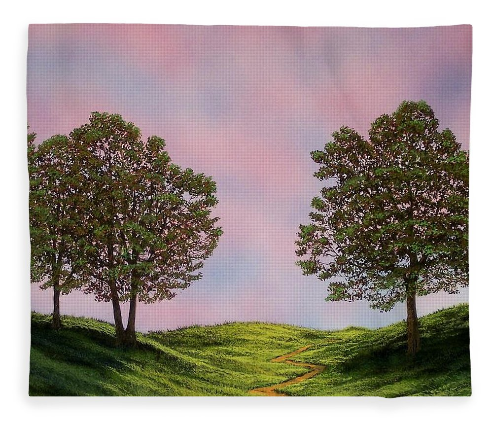 Landscape Fleece Blanket featuring the painting Colors Of Dawn by Frank Wilson