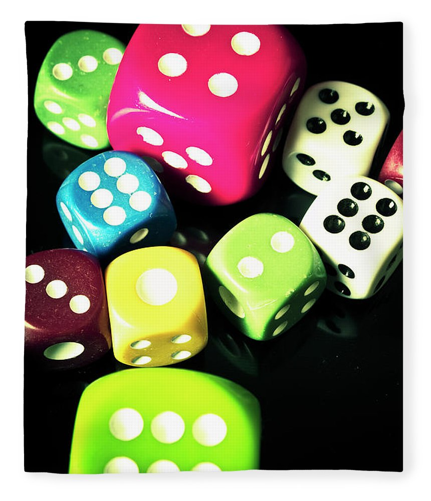 Casino Fleece Blanket featuring the photograph Colourful Casino Dice by Jorgo Photography - Wall Art Gallery