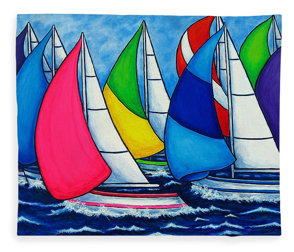 Boats Fleece Blanket featuring the painting Colourful Regatta by Lisa Lorenz