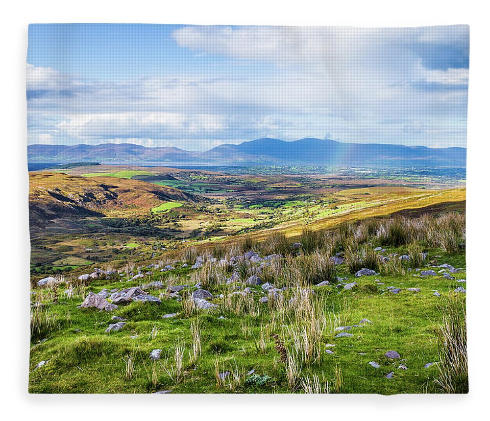Blue Fleece Blanket featuring the photograph Colourful Undulating Irish Landscape In Kerry by Semmick Photo