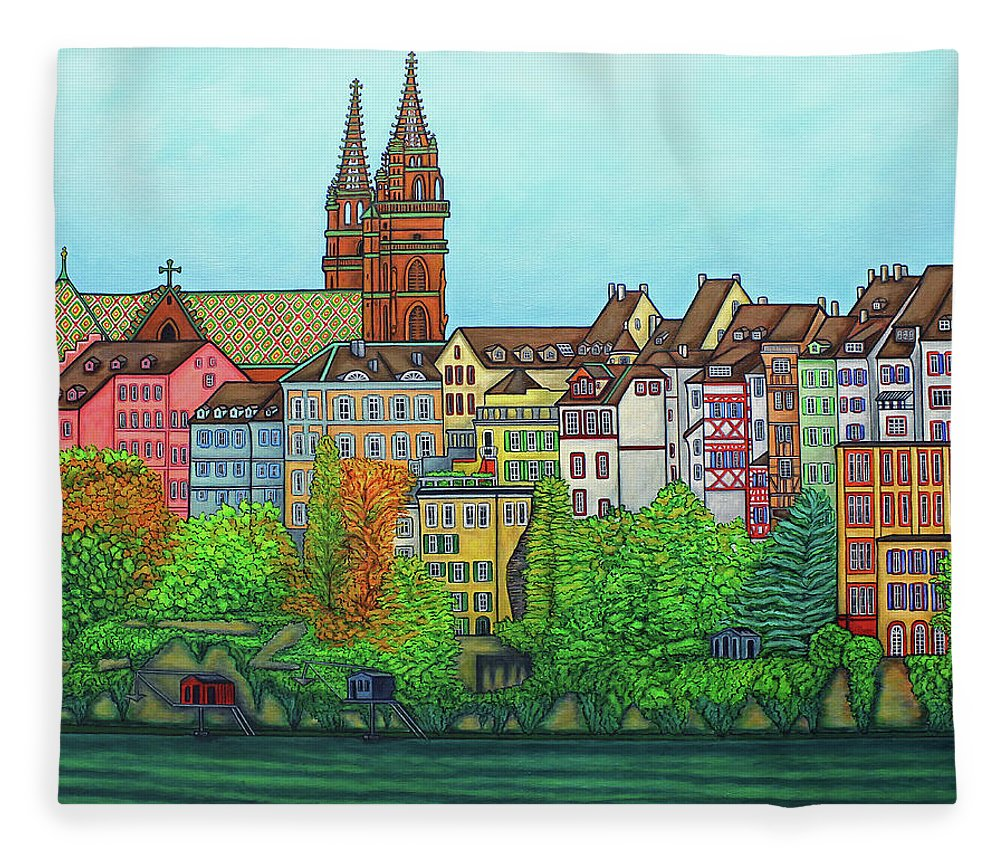 Lisa Lorenz Fleece Blanket featuring the painting Basel, Colours of Basel by Lisa Lorenz