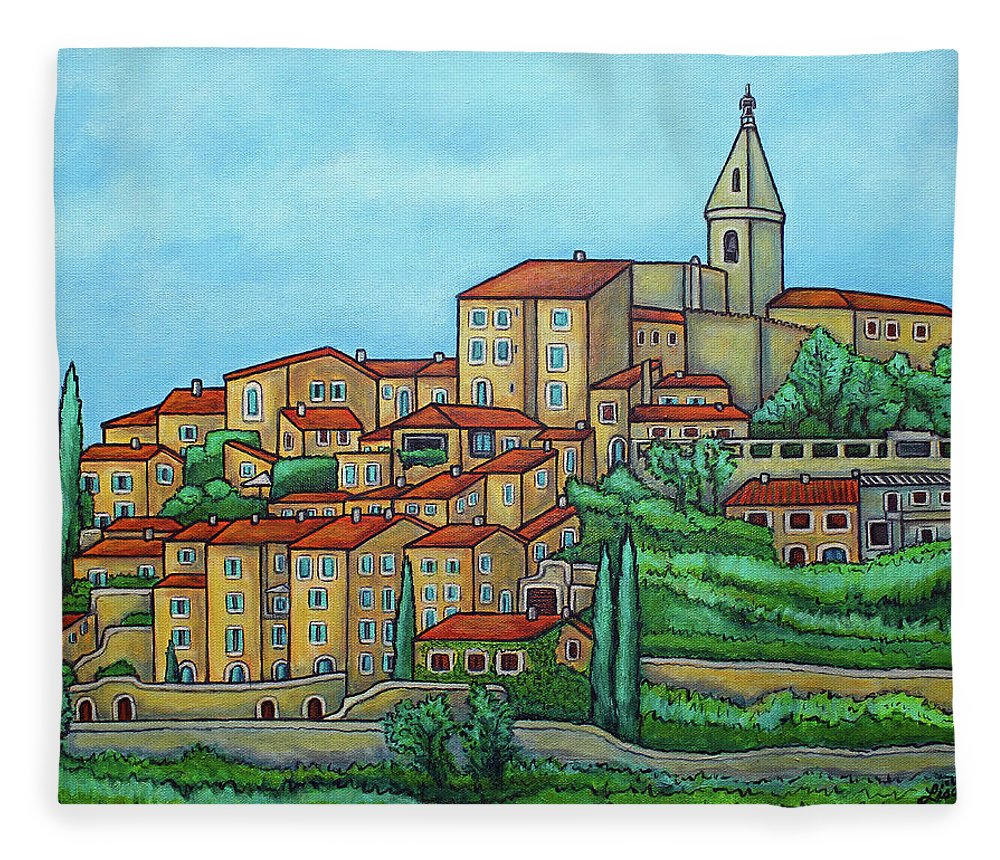Provence Fleece Blanket featuring the painting Colours of Crillon-le-Brave, Provence by Lisa Lorenz