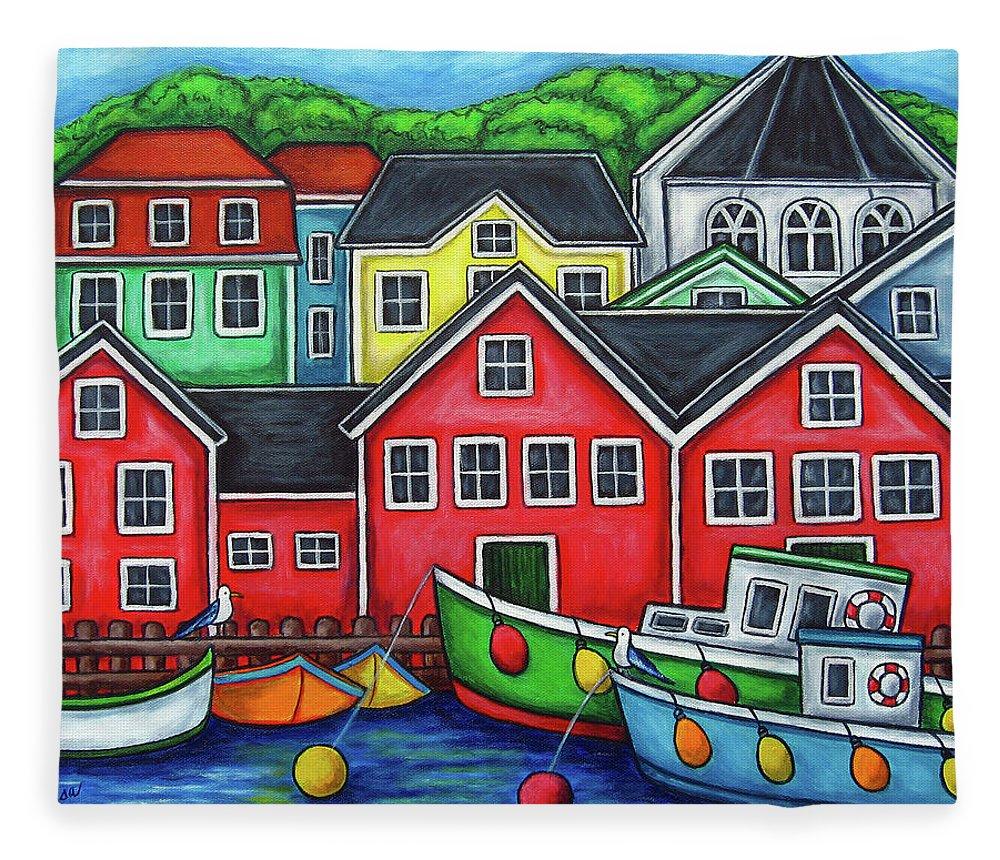 Nova Scotia Fleece Blanket featuring the painting Colours of Lunenburg by Lisa Lorenz