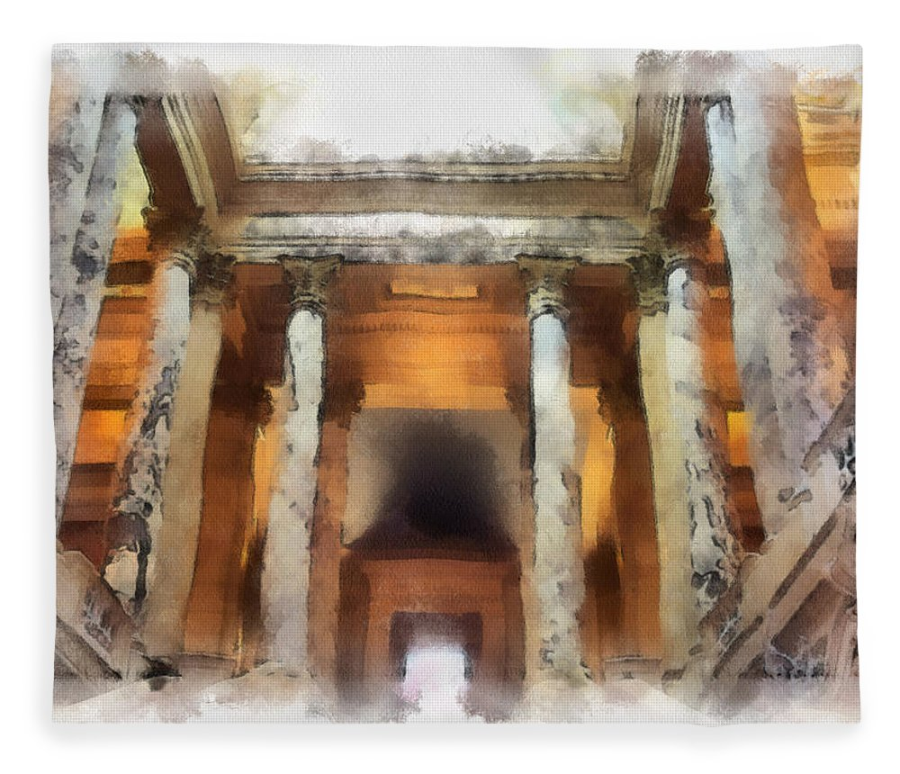 Columns Fleece Blanket featuring the photograph Columns by Paulette B Wright
