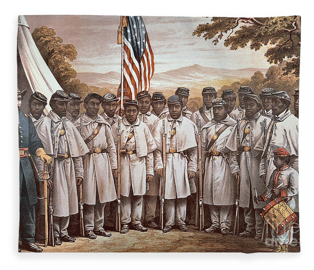 Recruitment; American Civil War; Volunteer; Soldiers; Soldier; Army; Uniform; Flag; Stars And Stripes; General; Drummer; Negro; African-american; Us; Usa; Recruiting; Advertisement; Advert; Propaganda; African American Fleece Blanket featuring the painting 'come And Join Us Brothers' by American School
