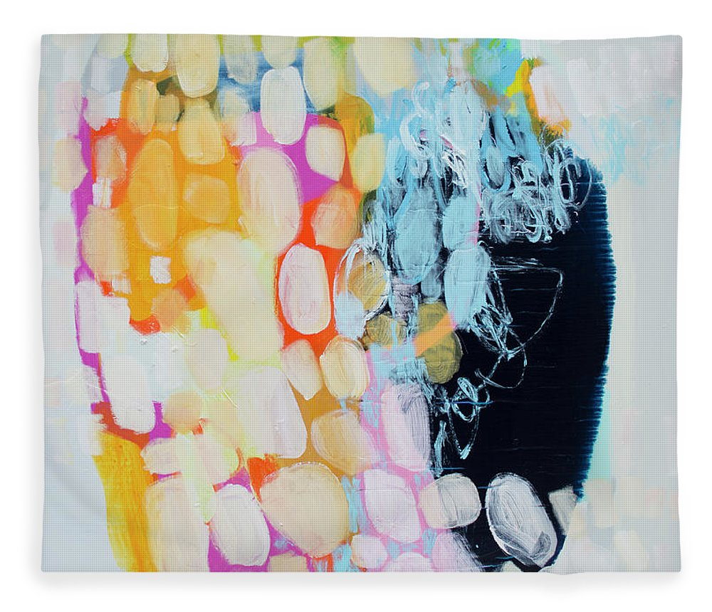 Abstract Fleece Blanket featuring the painting Come To Bed by Claire Desjardins