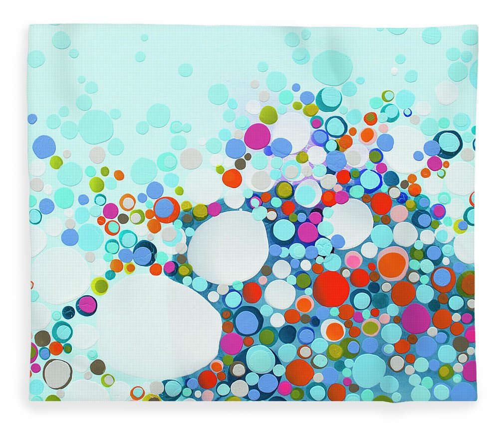 Abstract Fleece Blanket featuring the painting Comfortable In Chaos by Claire Desjardins