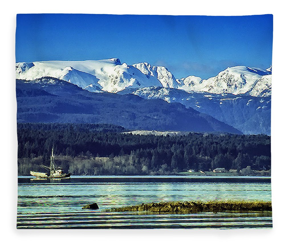 Comox Glacier Fleece Blanket featuring the digital art Comox Glacier And Herring Boat by Richard Farrington