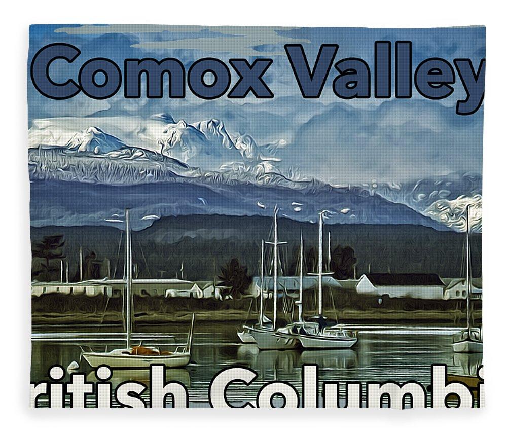 Comox Glacier Fleece Blanket featuring the digital art Comox Glacier Overlooking Comox Harbor by Richard Farrington