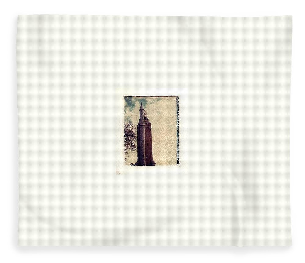 Polaroid Transfer Fleece Blanket featuring the photograph Compton Water Tower by Jane Linders