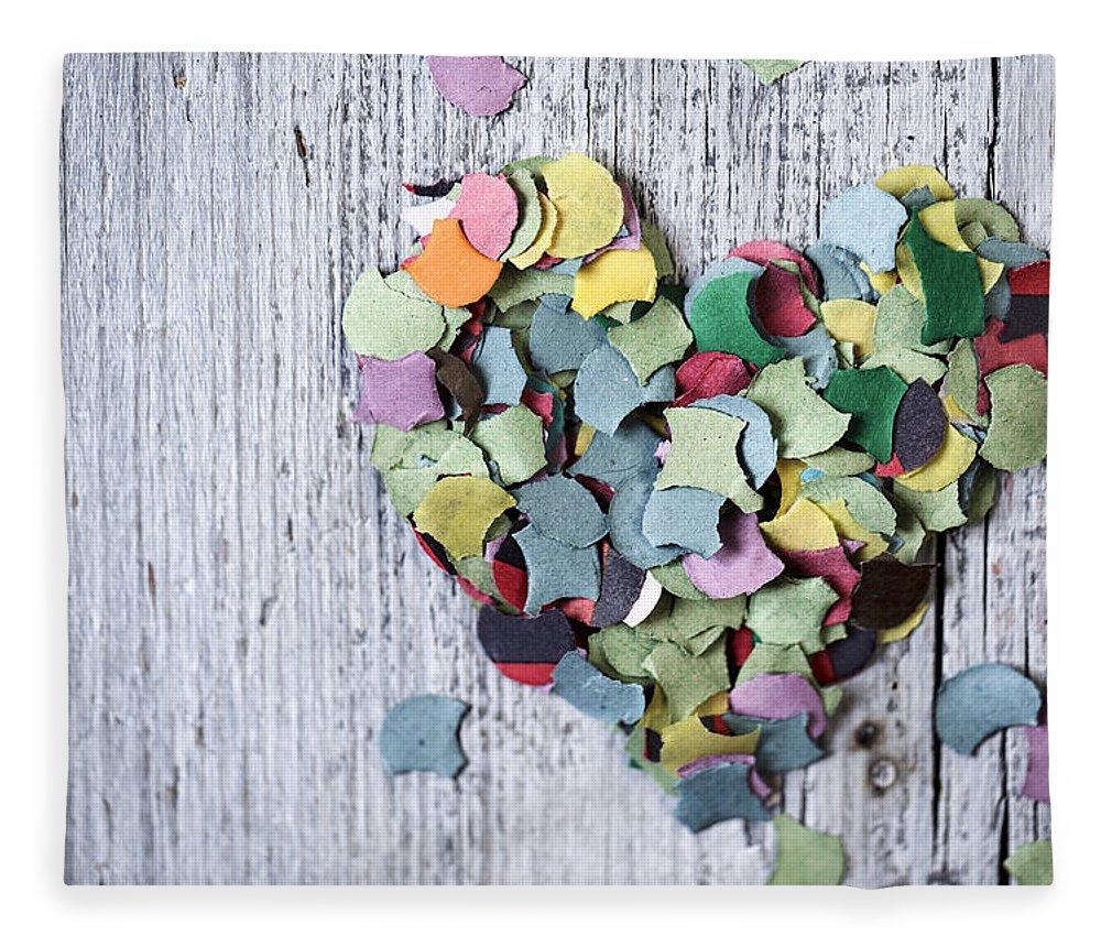 Heart Fleece Blanket featuring the photograph Confetti Heart by Nailia Schwarz