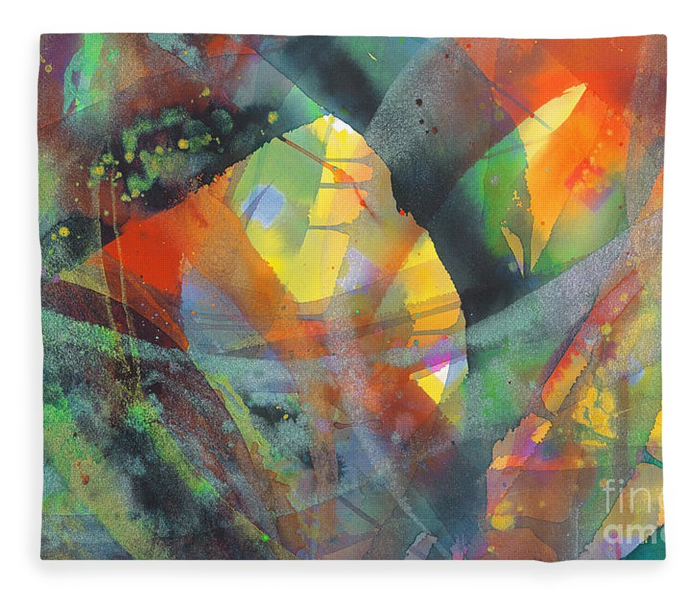 Abstract Fleece Blanket featuring the painting Connections by Lucy Arnold