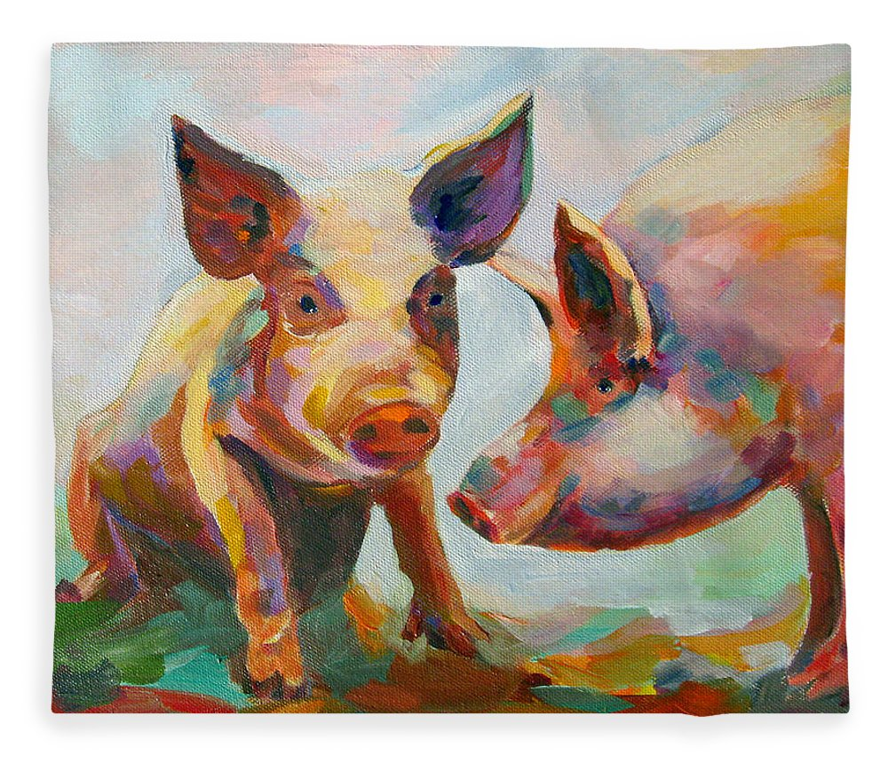 Pigs Fleece Blanket featuring the painting Consultation by Naomi Gerrard