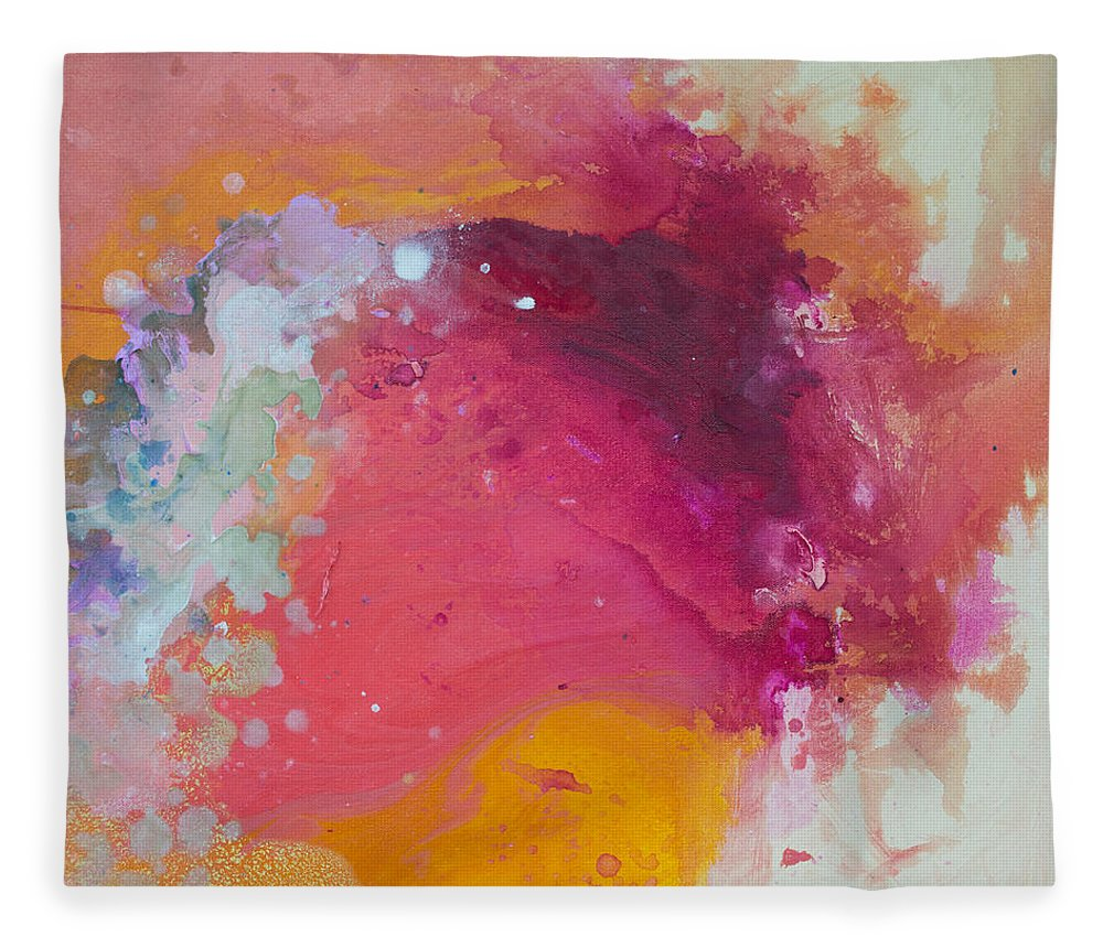 Abstract Fleece Blanket featuring the painting Controlled Chaos by Claire Desjardins