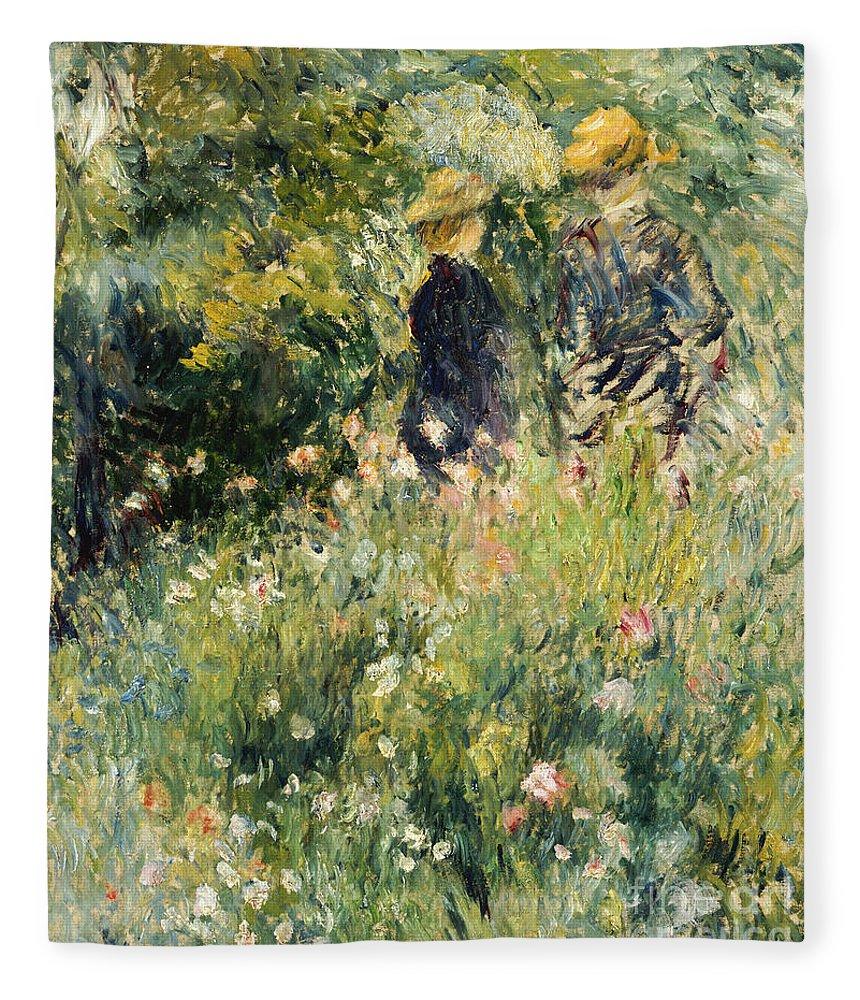 Impressionism; Impressionist; Female; Talking; Flower; Plant; Conversation In A Rose Garden Fleece Blanket featuring the painting Conversation In A Rose Garden by Pierre Auguste Renoir
