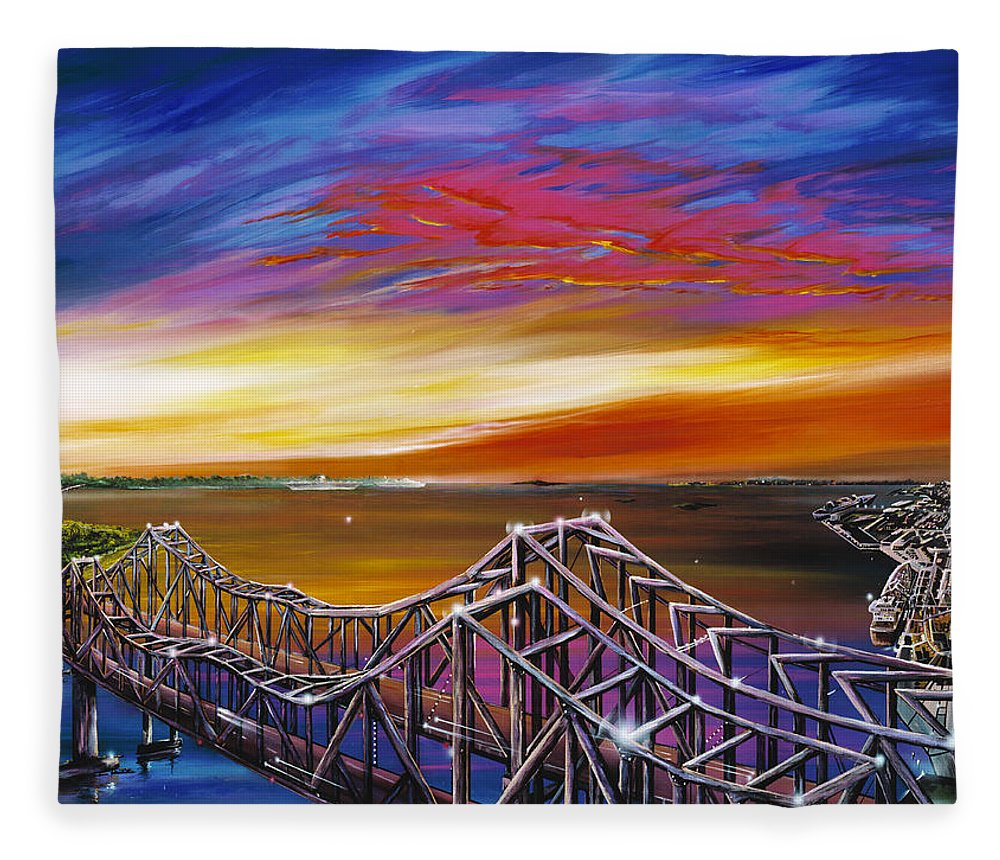 Clouds Fleece Blanket featuring the painting Cooper River Bridge by James Christopher Hill