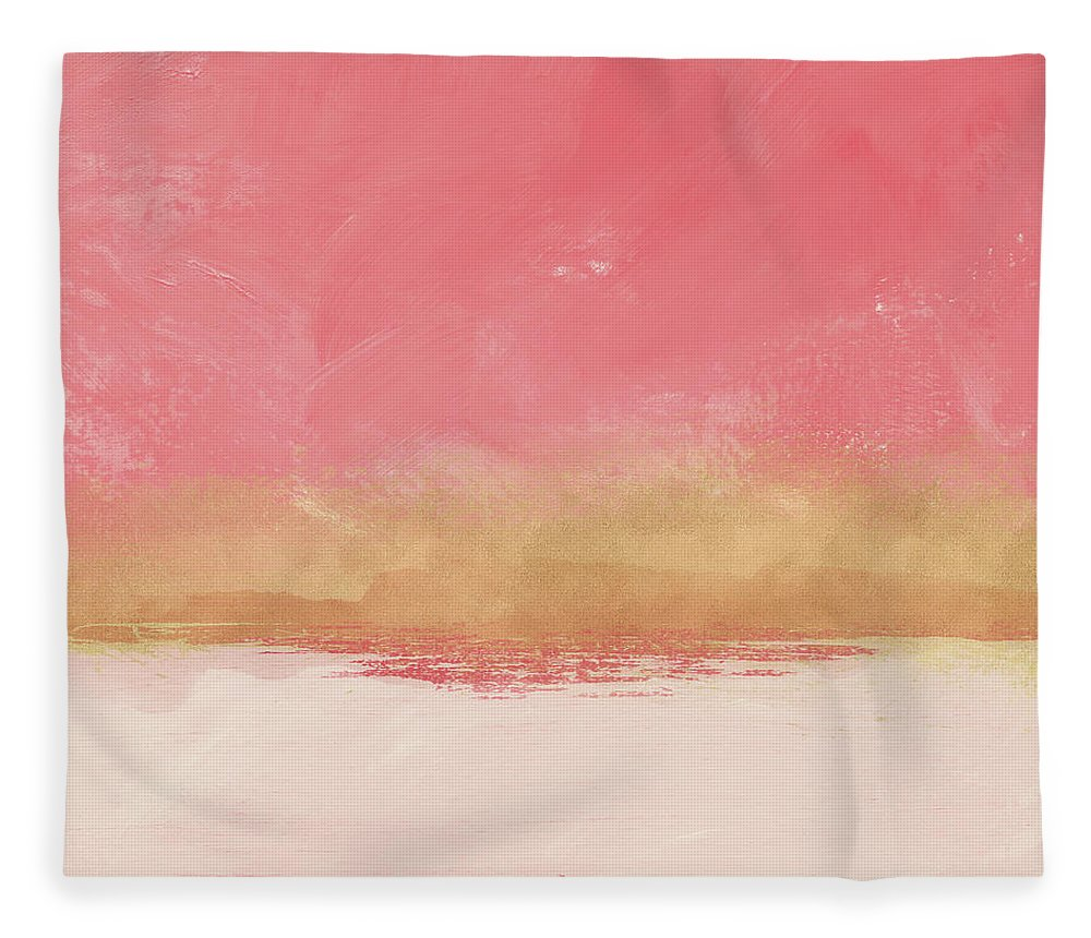 Abstract Fleece Blanket featuring the mixed media Coral And Gold Abstract 1- Art By Linda Woods by Linda Woods