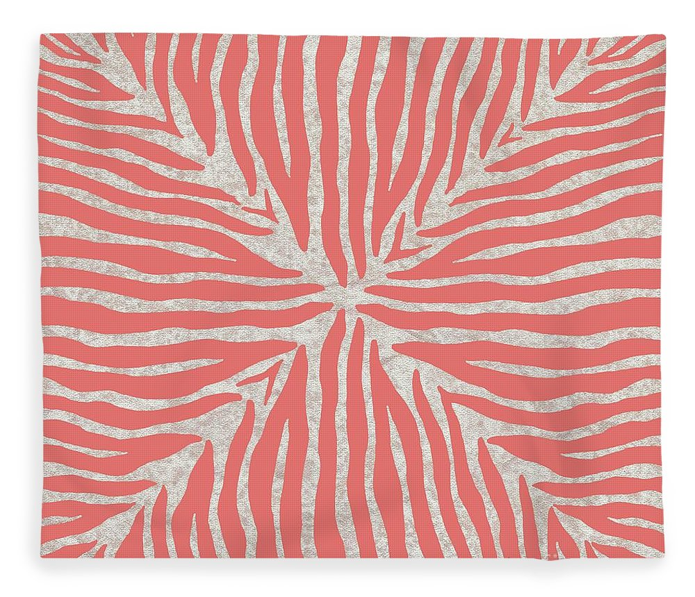 Zebra Fleece Blanket featuring the painting Coral Zebra 2 by Marcella Muhammad