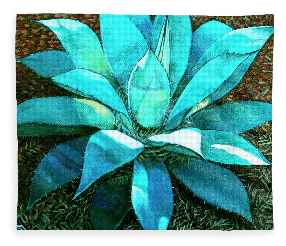 Cactus Fleece Blanket featuring the painting Corkscrew by Snake Jagger