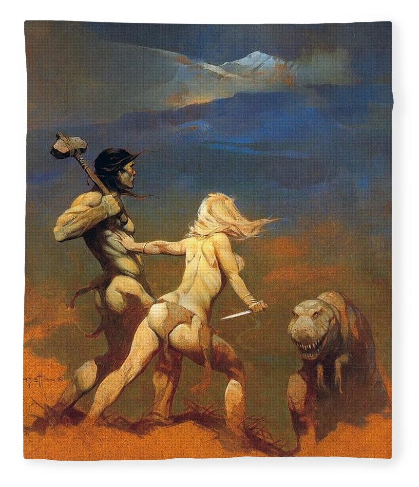 Frank Frazetta Fleece Blanket featuring the painting Cornered by Frank Frazetta